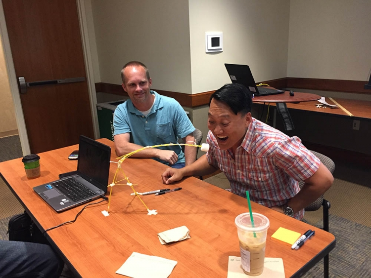 Marshmallow Challenge simulation with Data Management and Shared Services Teams